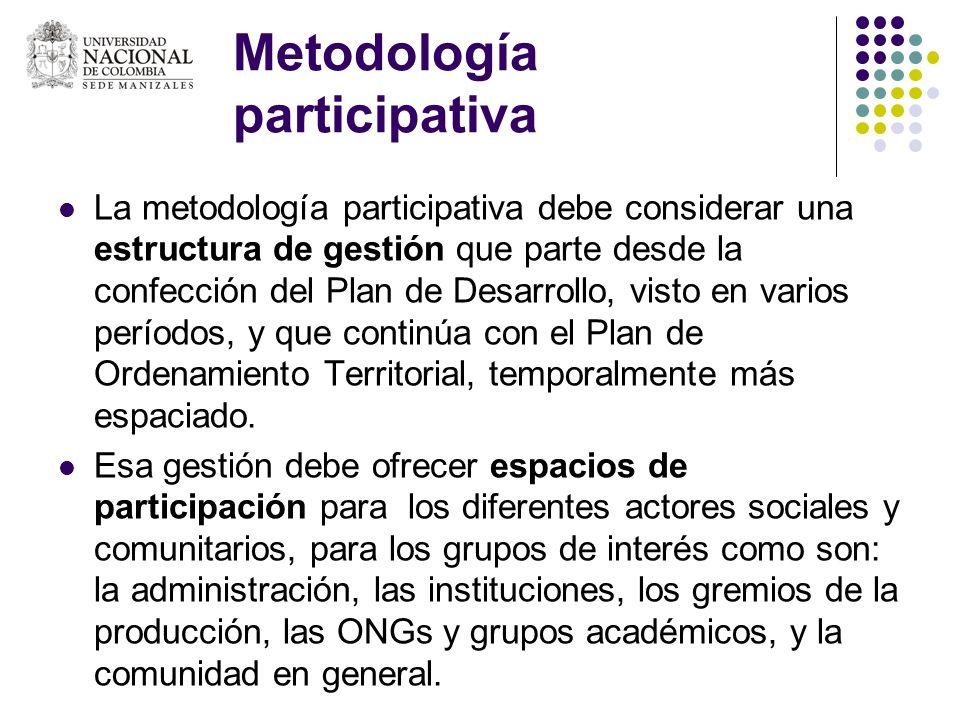 Metodología participativa La metodología participativa debe considerar una estructura de gestión que parte desde la confección del Plan de Desarrollo,