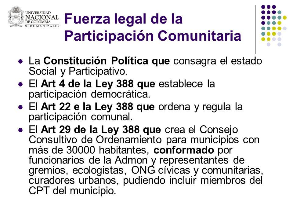 Fuerza legal de la Participación Comunitaria La Constitución Política que consagra el estado Social y Participativo. El Art 4 de la Ley 388 que establ