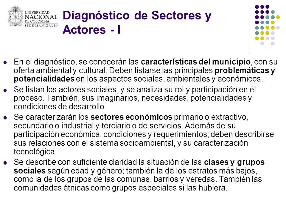 Diagnóstico de Sectores y Actores - I En el diagnóstico, se conocerán las características del municipio, con su oferta ambiental y cultural. Deben lis
