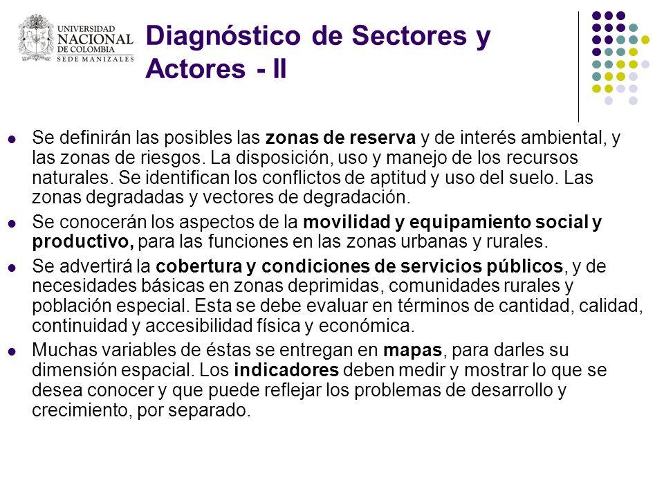 Diagnóstico de Sectores y Actores - II Se definirán las posibles las zonas de reserva y de interés ambiental, y las zonas de riesgos. La disposición,