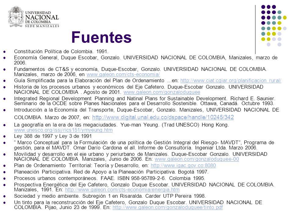 Fuentes Constitución Política de Colombia. 1991. Economía General, Duque Escobar, Gonzalo. UNIVERSIDAD NACIONAL DE COLOMBIA, Manizales, marzo de 2006.