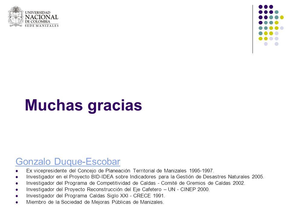 Muchas gracias Gonzalo Duque-Escobar Ex vicepresidente del Concejo de Planeación Territorial de Manizales 1995-1997. Investigador en el Proyecto BID-I