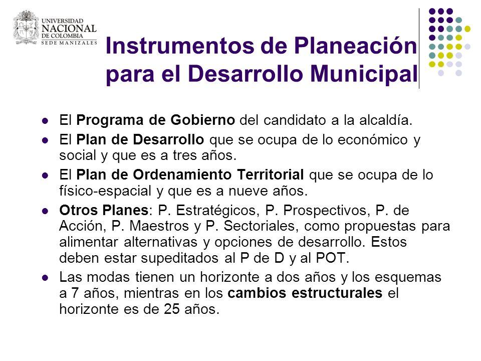 Instrumentos de Planeación para el Desarrollo Municipal El Programa de Gobierno del candidato a la alcaldía. El Plan de Desarrollo que se ocupa de lo