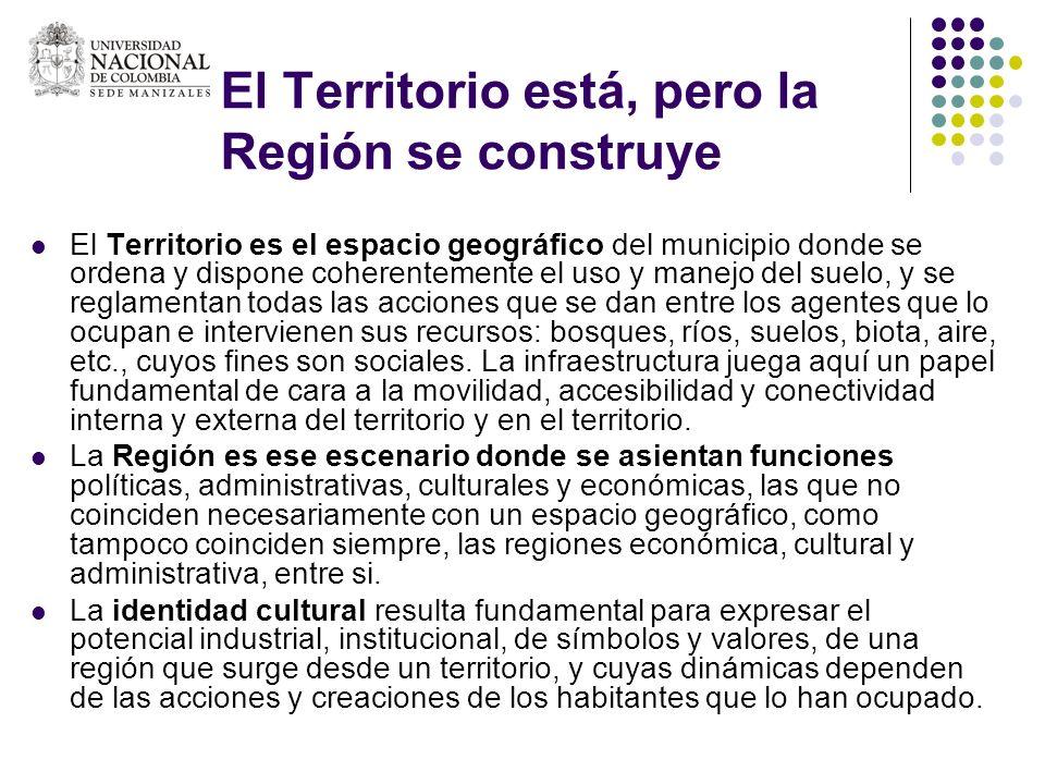 El Territorio está, pero la Región se construye El Territorio es el espacio geográfico del municipio donde se ordena y dispone coherentemente el uso y