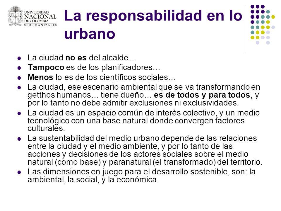 La responsabilidad en lo urbano La ciudad no es del alcalde… Tampoco es de los planificadores… Menos lo es de los científicos sociales… La ciudad, ese