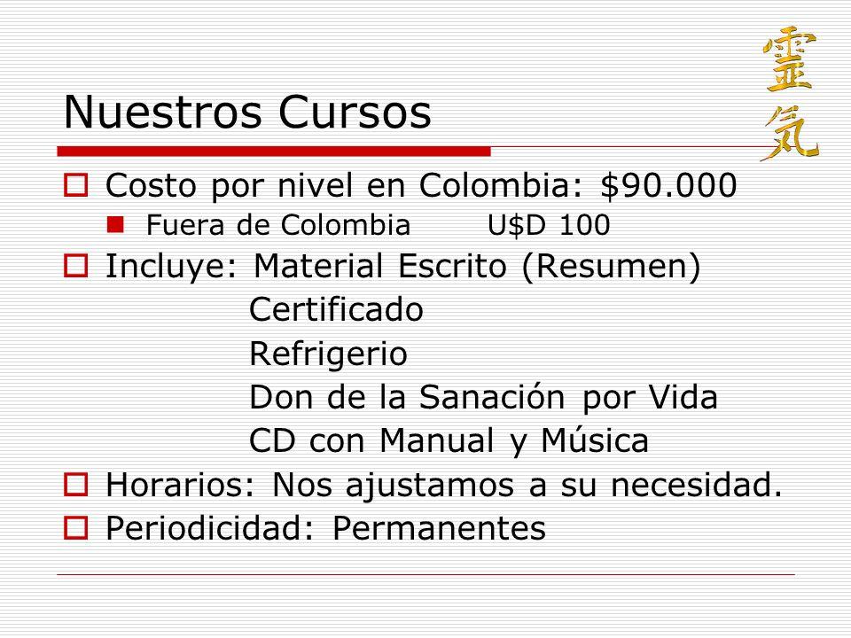 Nuestros Cursos Costo por nivel en Colombia: $90.000 Fuera de ColombiaU$D 100 Incluye: Material Escrito (Resumen) Certificado Refrigerio Don de la San