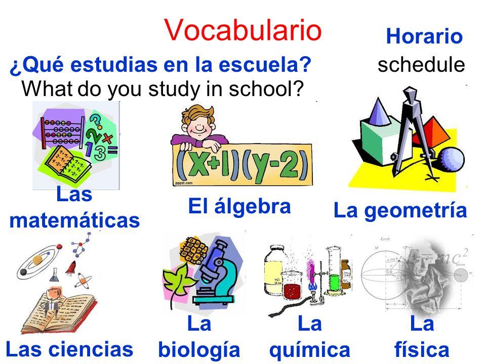 Vocabulario ¿Qué estudias en la escuela? What do you study in school? Las matemáticas El álgebra La geometría Las ciencias La biología La química La f