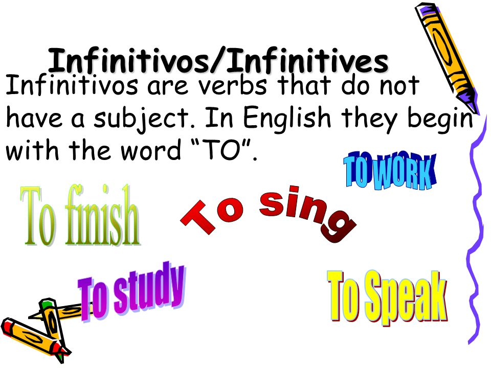 Infinitivos/Infinitives Infinitivos are verbs that do not have a subject.