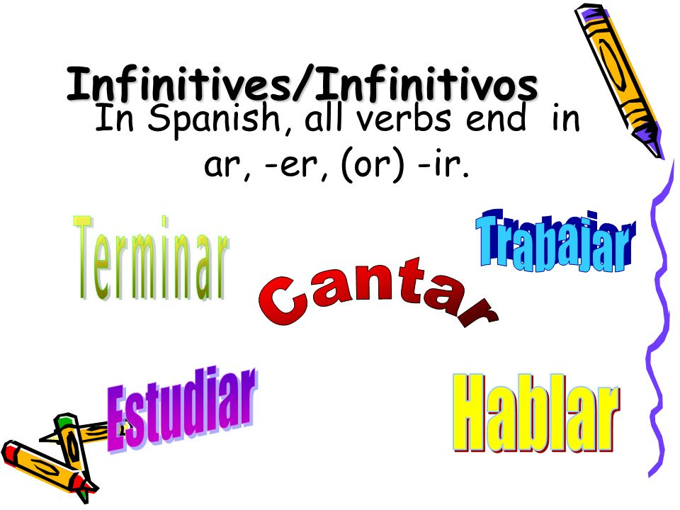 Infinitives/Infinitivos In Spanish, all verbs end in ar, -er, (or) -ir.