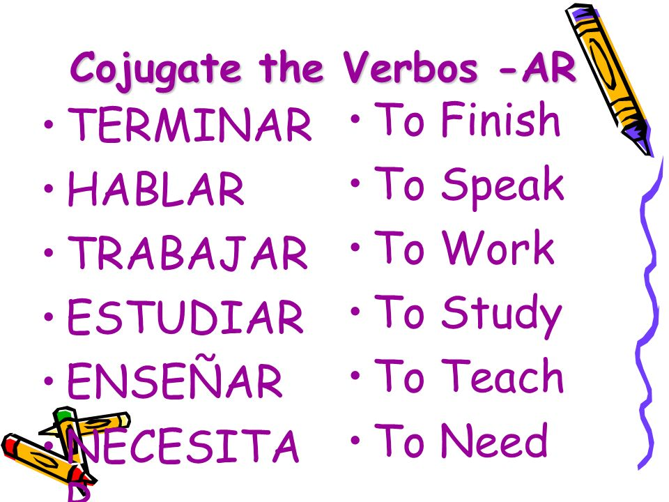 Cojugate the Verbos -AR TERMINAR HABLAR TRABAJAR ESTUDIAR ENSEÑAR NECESITA R To Finish To Speak To Work To Study To Teach To Need