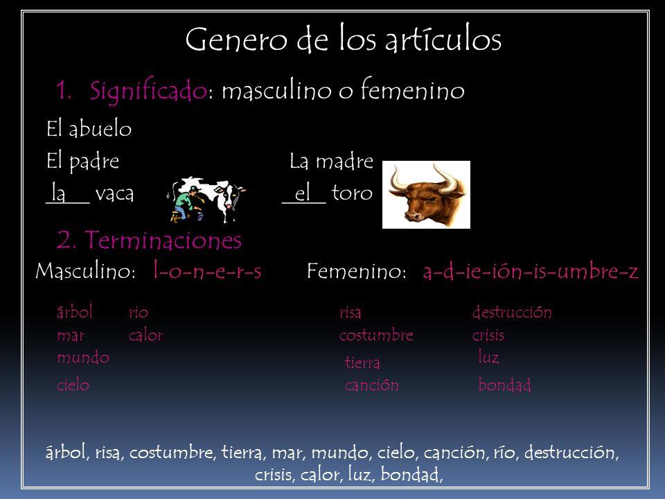 Genero de los artículos 1.Significado: masculino o femenino El abuelo El padre La madre ____ vaca ____ toro lael 2. Terminaciones Masculino: l-o-n-e-r