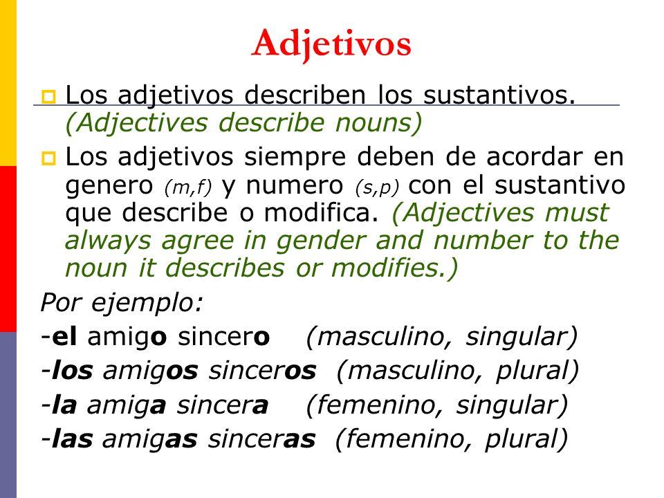 Adjetivos Los adjetivos describen los sustantivos. (Adjectives describe nouns) Los adjetivos siempre deben de acordar en genero (m,f) y numero (s,p) c