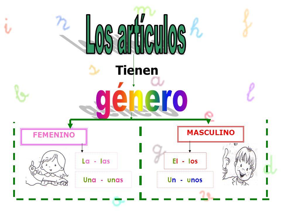 Tienen FEMENINO MASCULINO La - lasEl - los Una - unasUn - unos