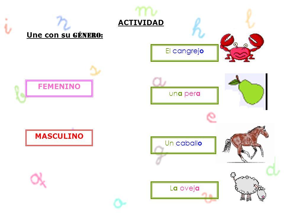 ACTIVIDAD Une con su Género: FEMENINO MASCULINO El cangrej o L a ovej a Un caball o un a per a