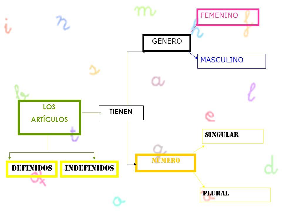 LOS ARTÍCULOS TIENEN GÉNERO NÚMERO FEMENINO MASCULINO PLURAL SINGULAR DefinidosInDefinidos
