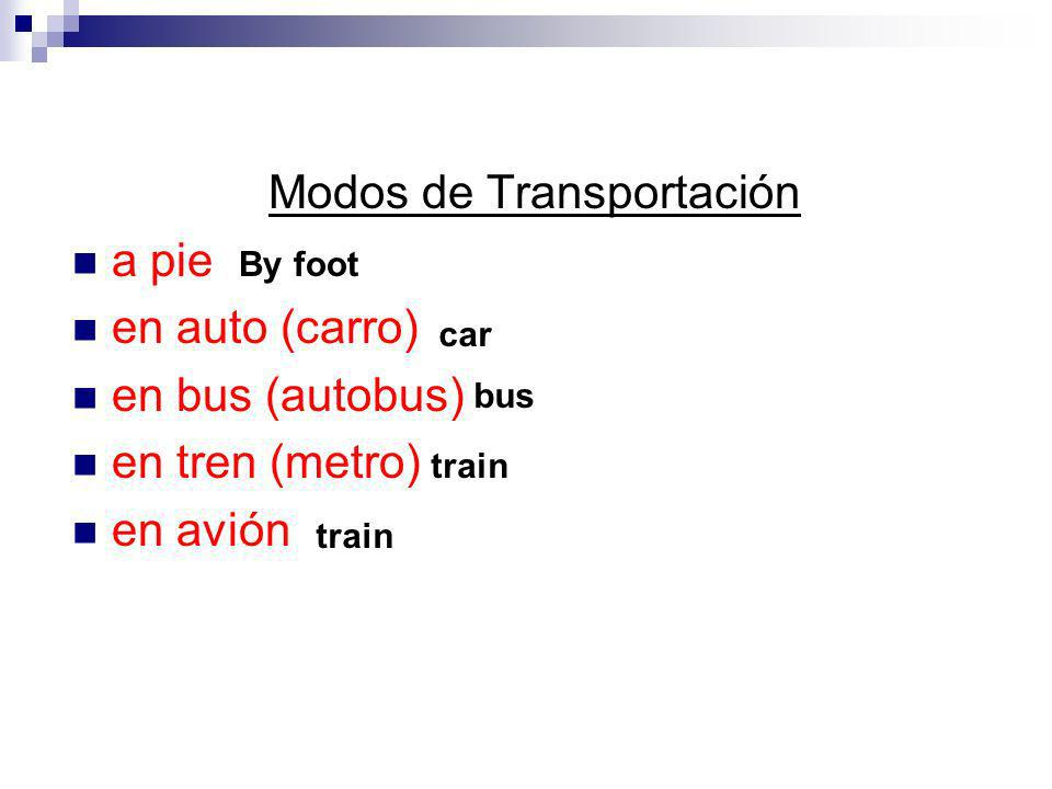 Modos de Transportación a pie en auto (carro) en bus (autobus) en tren (metro) en avión By foot car bus train