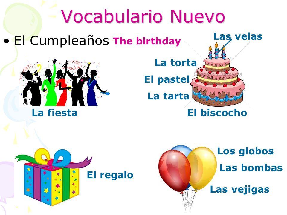 Vocabulario Nuevo El Cumpleaños The birthday La fiesta La torta El pastel La tarta El biscocho Las velas El regalo Los globos Las bombas Las vejigas