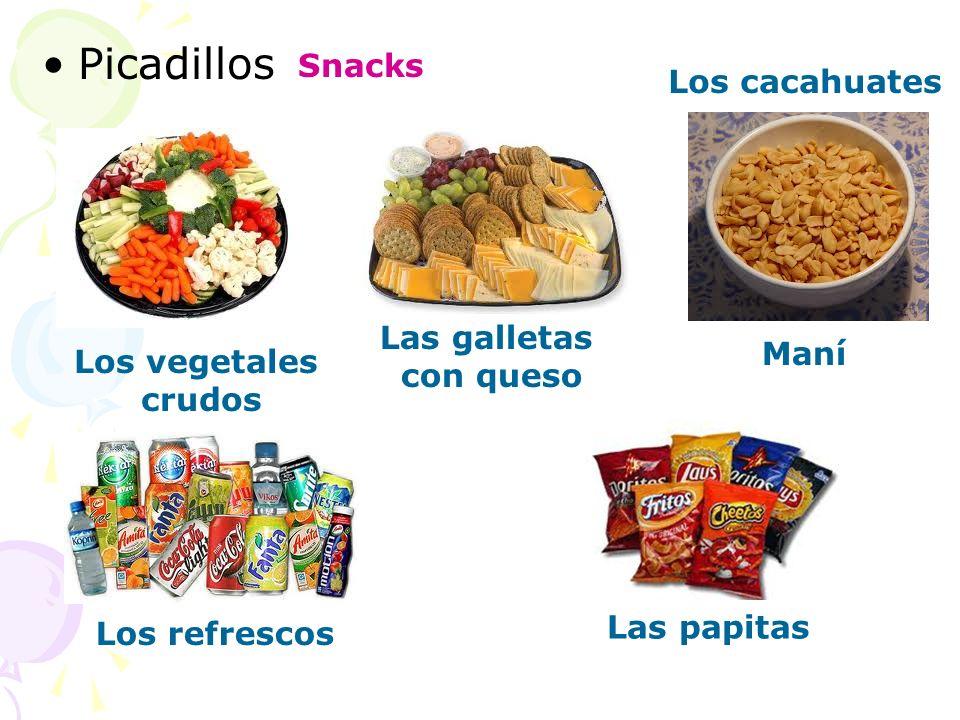 Picadillos Snacks Los cacahuates Las galletas con queso Los vegetales crudos Maní Los refrescos Las papitas