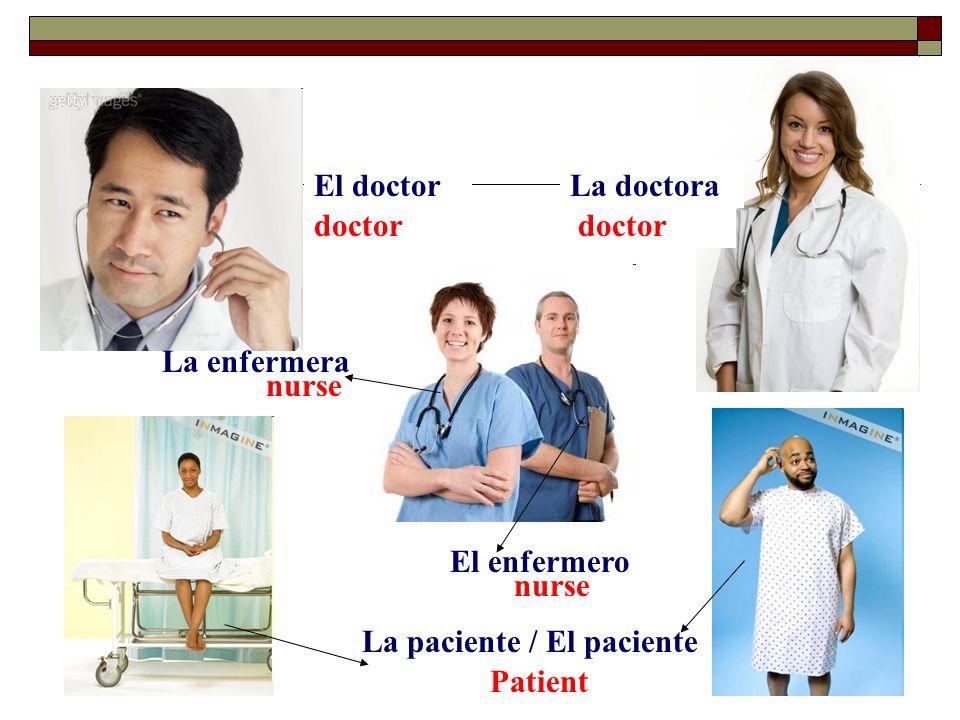 El doctorLa doctora doctor La enfermera nurse El enfermero nurse La paciente / Patient El paciente