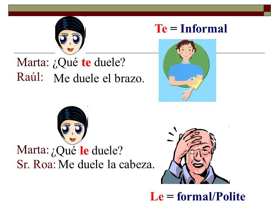 Marta: Raúl: Marta: Sr. Roa: te ¿Qué te duele. Me duele el brazo.