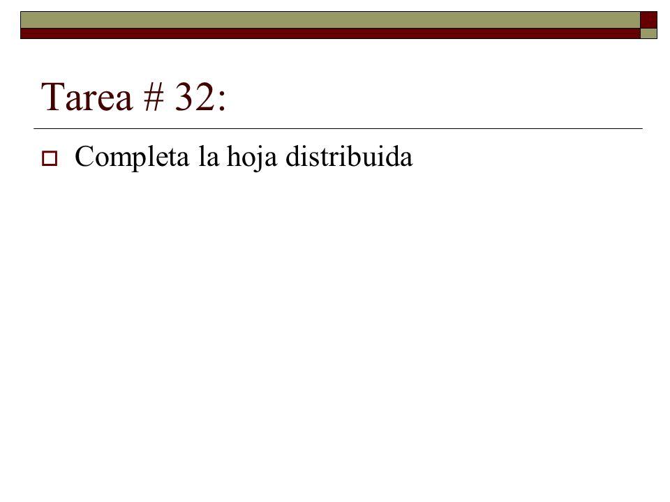 Tarea # 32: Completa la hoja distribuida