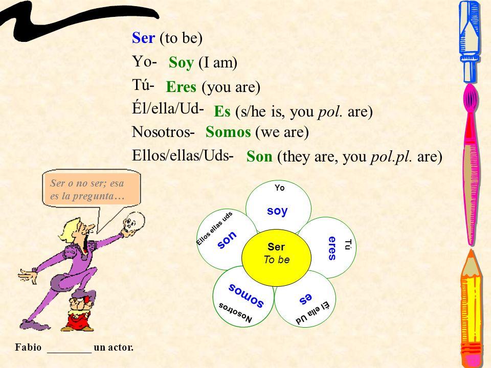 dar (to give) Yo- Tú- Él/ella/Ud- Nosotros- Ellos/ellas/Uds- Yo doy Tú Él ella Ud Nosotros Ellos ellas uds Dar To give das da damos dan doy (I give) das (you give) da (s/he is, you pol.