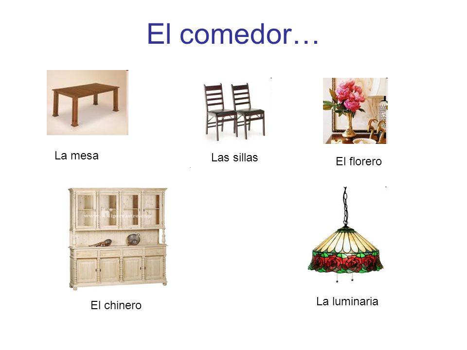 El comedor… La mesa Las sillas El florero El chinero La luminaria