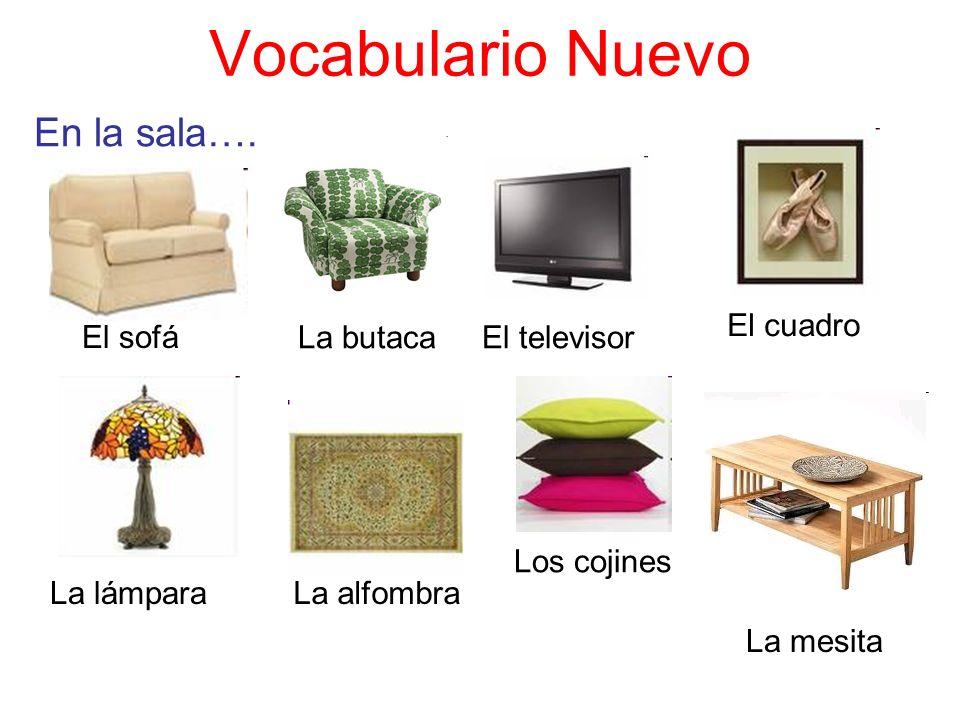 Vocabulario Nuevo En la sala…. El sofá El televisorLa butaca El cuadro La lámparaLa alfombra Los cojines La mesita