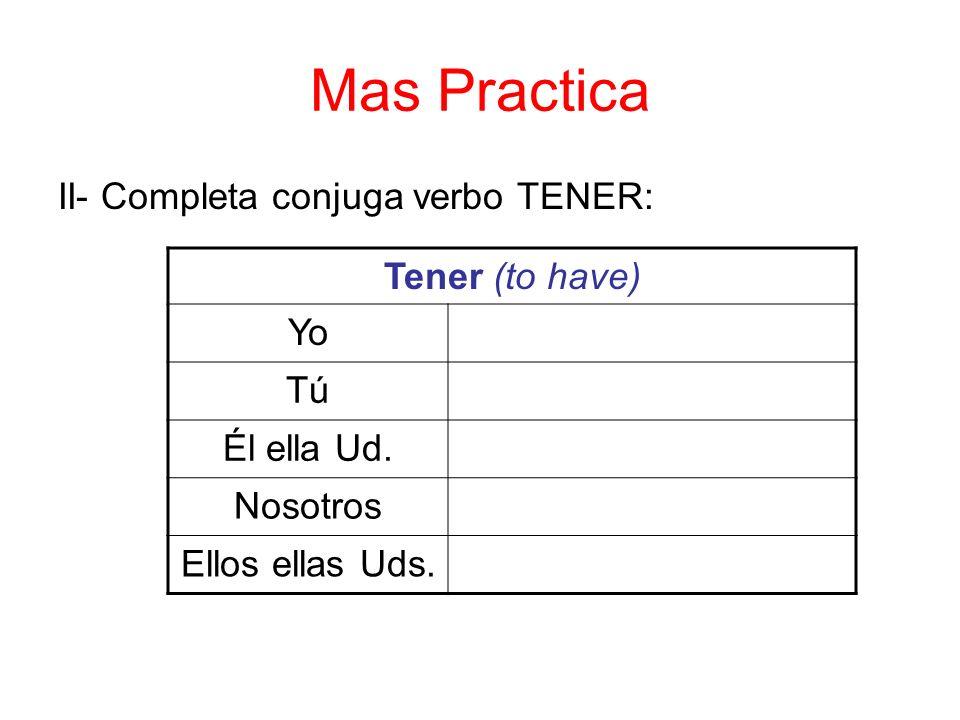 Mas Practica II- Completa conjuga verbo TENER: Tener (to have) Yo Tú Él ella Ud.