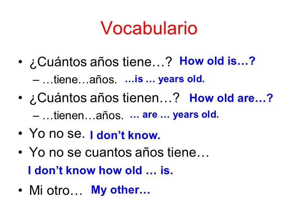 Vocabulario ¿Cuántos años tiene…? –…tiene…años. ¿Cuántos años tienen…? –…tienen…años. Yo no se. Yo no se cuantos años tiene… Mi otro… How old is…? …is