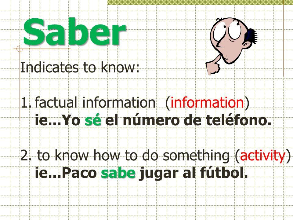 Saber Indicates to know: 1.factual information (information) sé ie...Yo sé el número de teléfono.
