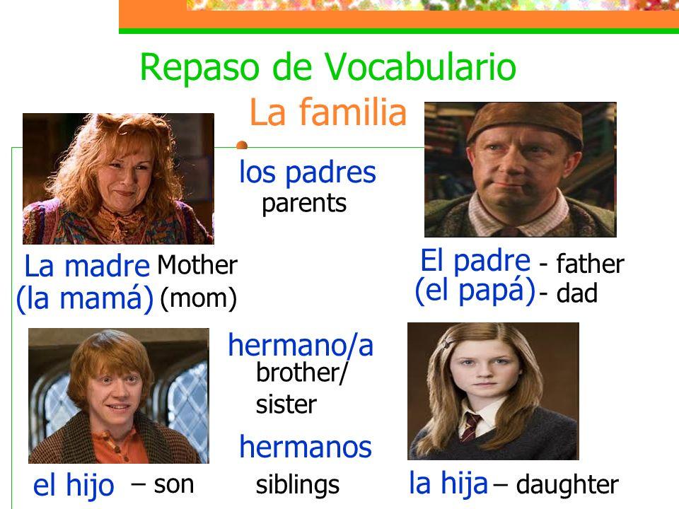 Repaso de Vocabulario La familia La madre (la mamá) Mother (mom) El padre (el papá) - father - dad el hijo – son hermanos – daughter hermano/a brother/ sister la hija los padres parents siblings