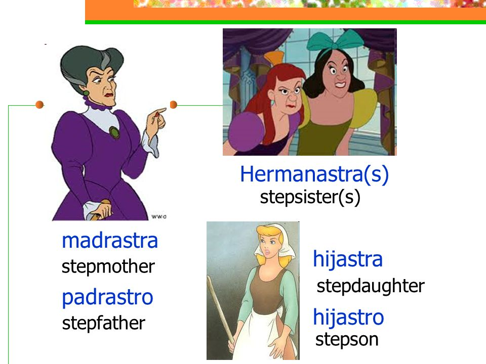 madrastra stepmother Hermanastra(s) stepsister(s) padrastro stepfather hijastra stepdaughter hijastro stepson