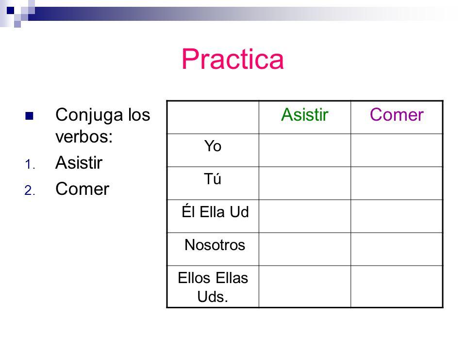 Practica Conjuga los verbos: 1. Asistir 2.