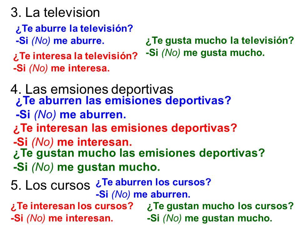 3. La television 4. Las emsiones deportivas 5. Los cursos ¿Te aburre la televisión? -Si (No) me aburre. ¿Te interesa la televisión? -Si (No) me intere