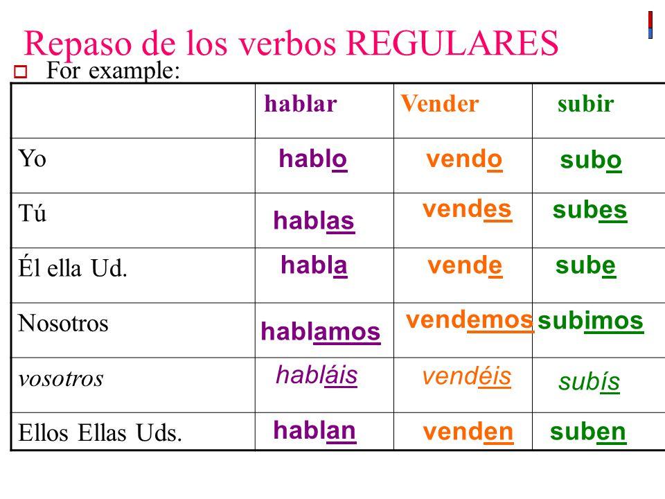Repaso de los verbos REGULARES For example: hablar Vender subir Yo Tú Él ella Ud.