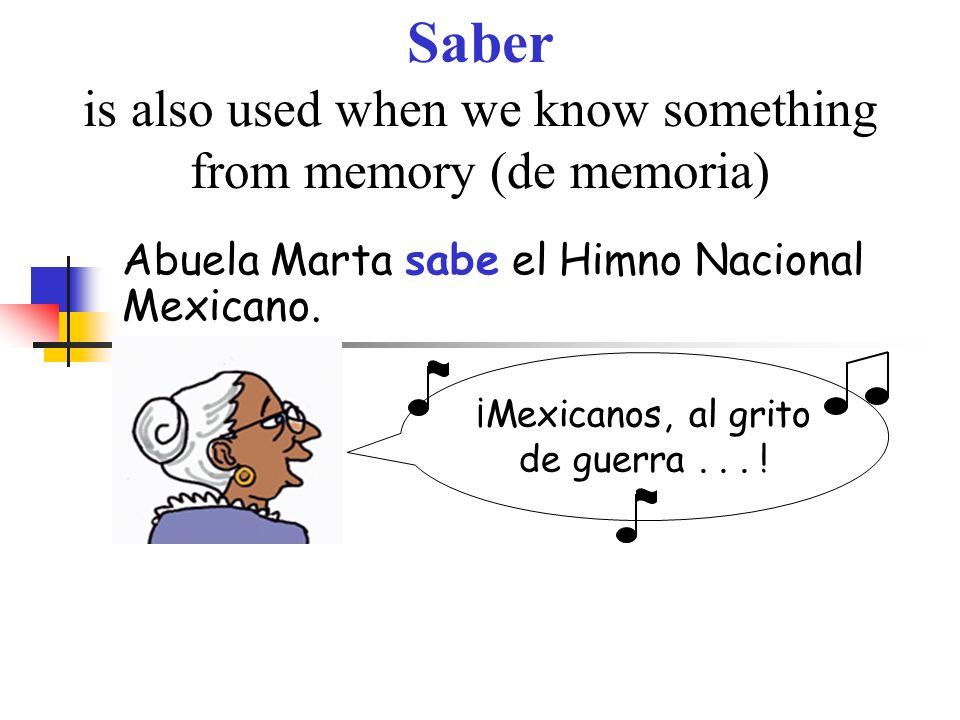 Saber is also used when we know something from memory (de memoria) Abuela Marta sabe el Himno Nacional Mexicano. ¡Mexicanos, al grito de guerra... !