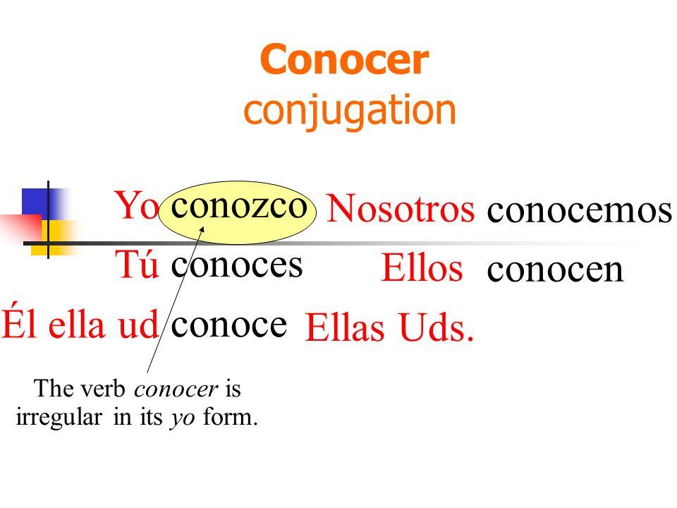 Conocer conjugation conozco conoces conoce conocemos conocen The verb conocer is irregular in its yo form. Yo Tú Él ella ud Nosotros Ellos Ellas Uds.