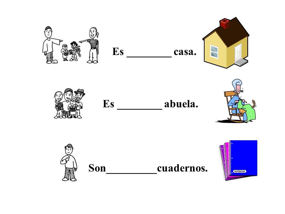 Es ________ casa. Es ________ abuela. Son_________cuadernos.