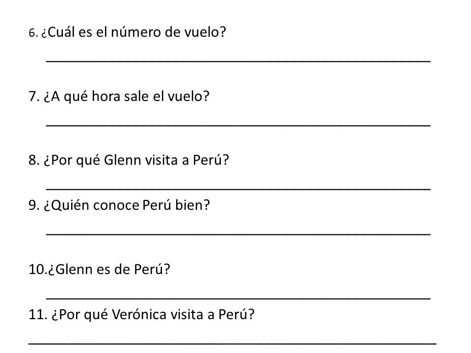 Contesta las preguntas en español. 1.¿Dónde están Glenn y Verónica.