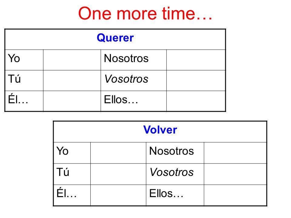 One more time… Querer YoNosotros TúVosotros Él…Ellos… Volver YoNosotros TúVosotros Él…Ellos…
