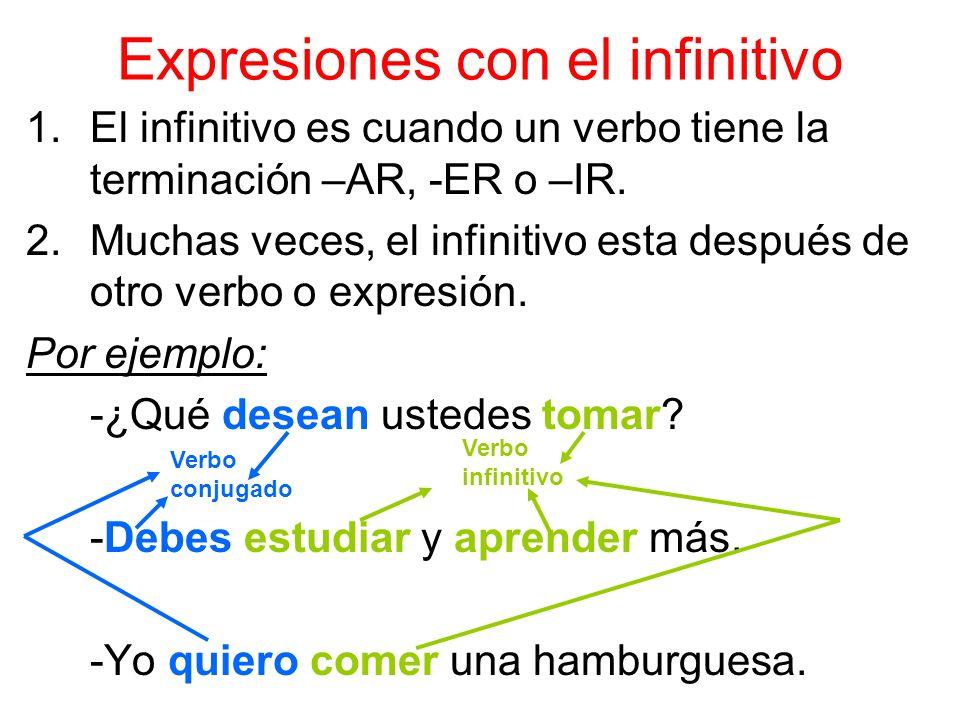 Expresiones con el infinitivo 1.El infinitivo es cuando un verbo tiene la terminación –AR, -ER o –IR.