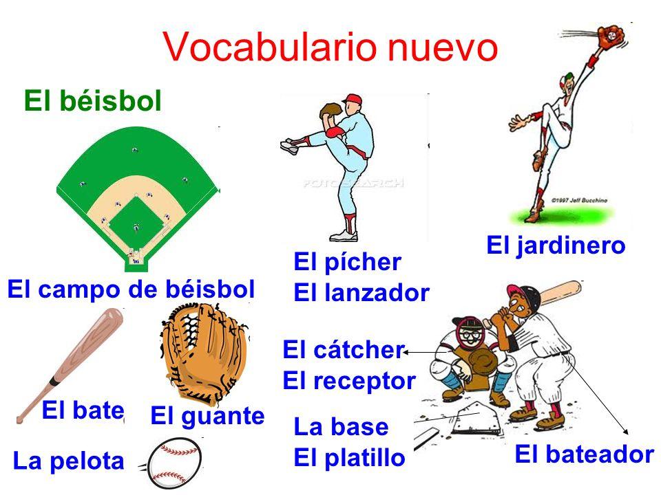 Vocabulario nuevo El béisbol El campo de béisbol El pícher El lanzador El jardinero El bateador El cátcher El receptor La base El platillo El bate El guante La pelota