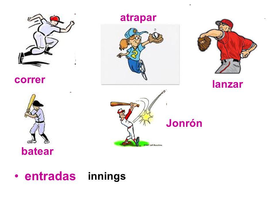 entradas correr atrapar lanzar batear Jonrón innings