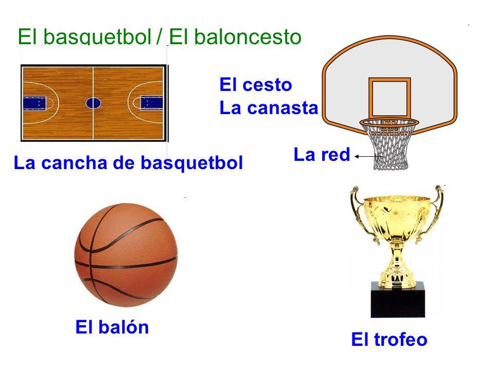 El basquetbol / El baloncesto La cancha de basquetbol El cesto La canasta La red El balón El trofeo
