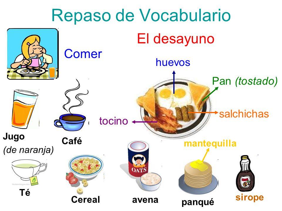 Repaso de Vocabulario Comer El desayuno huevos Pan (tostado) salchichas tocino mantequilla panqué sirope avena Cereal Té Café Jugo (de naranja)
