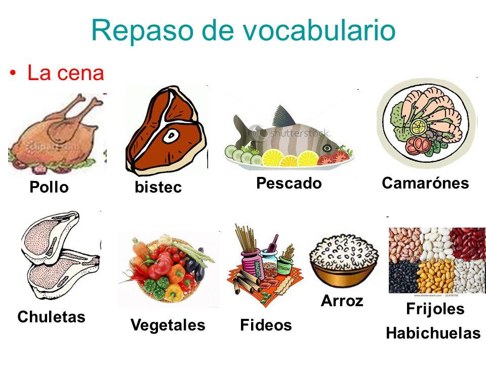 Repaso de vocabulario La cena Pollobistec Pescado Camarónes Chuletas Vegetales Fideos Arroz Frijoles Habichuelas