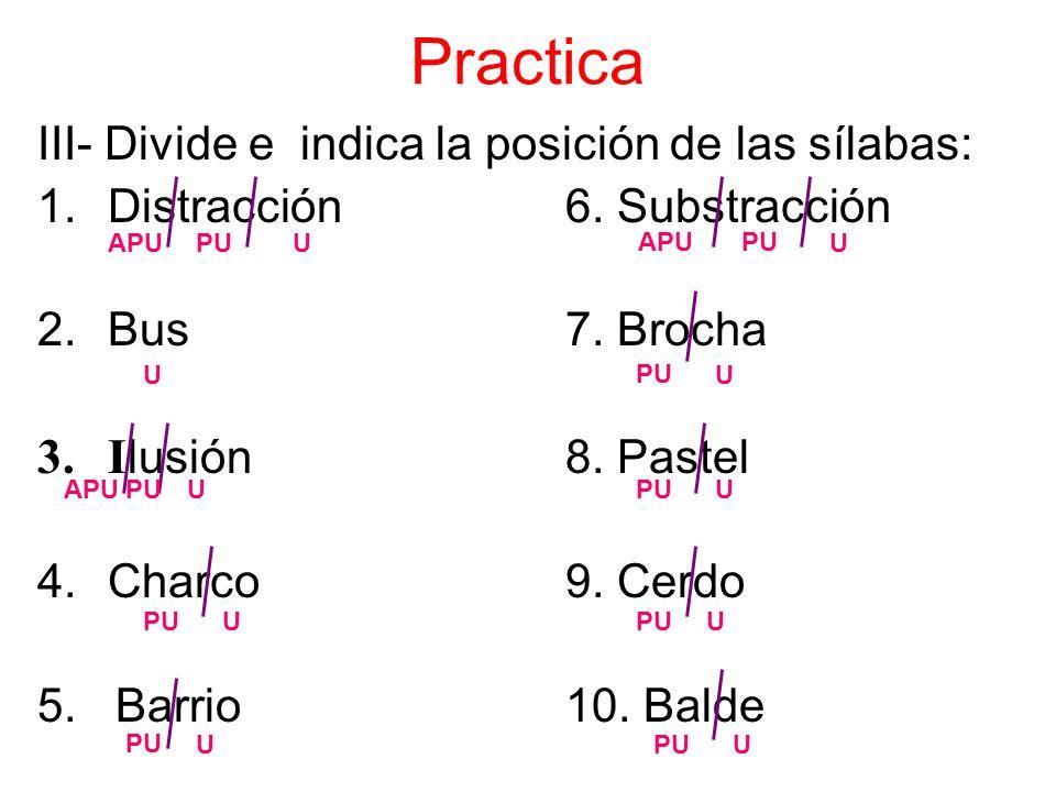 Practica III- Divide e indica la posición de las sílabas: 1.Distracción 6.