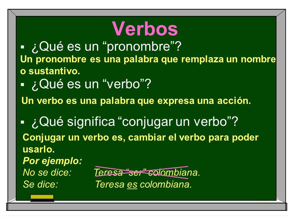 Verbos ¿Qué es un pronombre? ¿Qué es un verbo? ¿Qué significa conjugar un verbo? Un pronombre es una palabra que remplaza un nombre o sustantivo. Un v