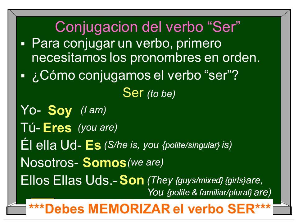 Conjugacion del verbo Ser Para conjugar un verbo, primero necesitamos los pronombres en orden. ¿Cómo conjugamos el verbo ser? Ser (to be) Yo- Tú- Él e